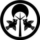丸に木に対い雲雀