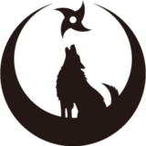 真向き月に吠える狼